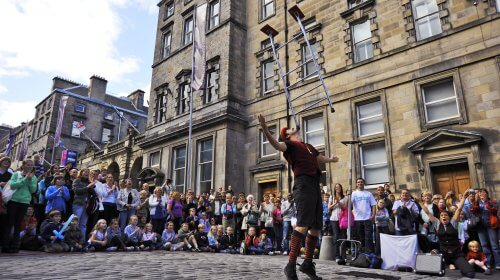 A street performer at the Edinburgh Fringe festival