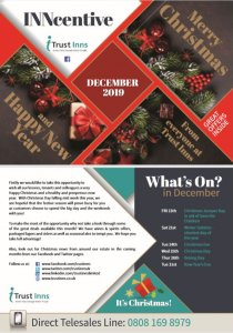 Front cover of Trust Inns December 2019 Inncentive magazine